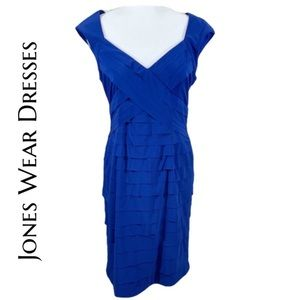 Jones Wear Co- Blue Layered Fitted Dress - Size 10